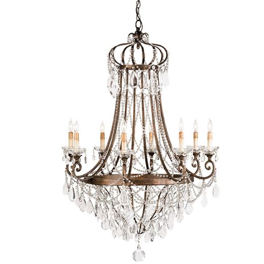 Metal and Crystal Chandelier