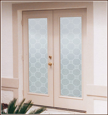 Faux Etched Blocks Decorative Window Film
