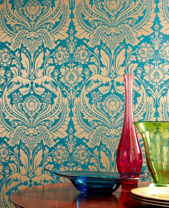 Desire: Teal Wallpaper - designer wallcovering - Home Wallpaper Shop